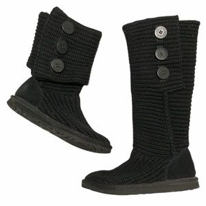 UGG black classic Cardy sweater knit boots size 6
